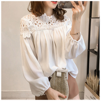 Chemise Femme Plus Size Blouse Chiffon Shirt Tops O Neck Women Lace Blouses Blusas Camisas Femininas
