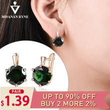 MISANANRYNE 2019 NEW Arrival Drop Earrings For Women Green Crystal Gold Color Earrings Statement Wedding Jewelry 90% off(China)
