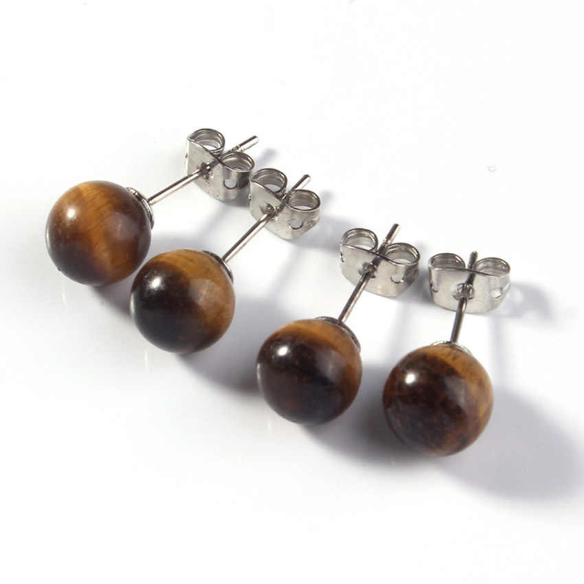 3a17fc142 xinshangmie 1 pair 8mm Simple Stylish Silver Plated Natural Tiger Eye Stone  Ear Stud For Women