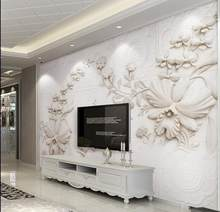 European carved plaster 3d wallpaper living room wallpaper for walls 3 d photo wallpaper papel de parede(China)
