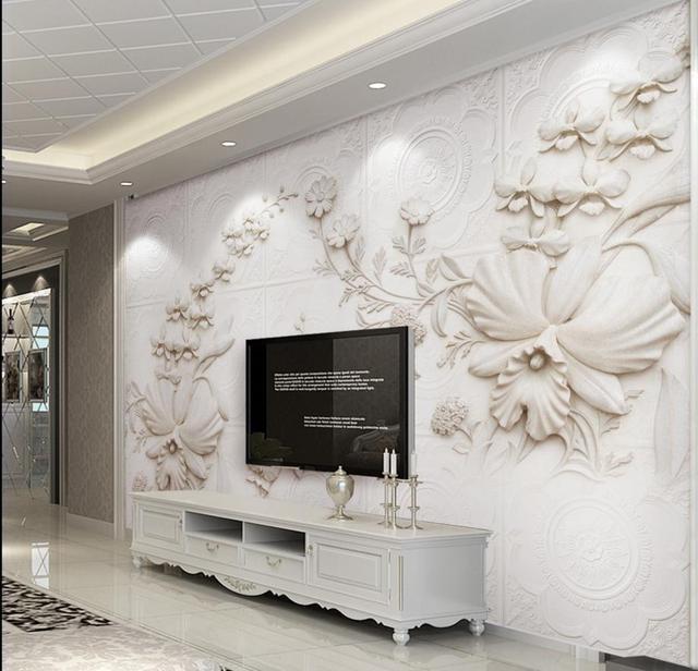 Europese gesneden gips 3d behang woonkamer behang voor muren 3 d ...