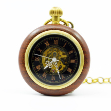 Mechanical Hand Wind Wooden Pocket Watch Steampunk Roman Numbers Steel Fob Watches PJX1249