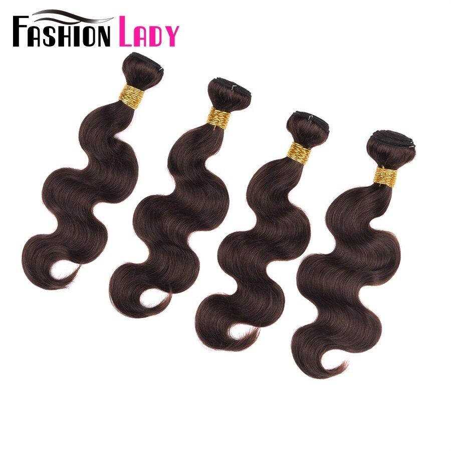 Fashion Lady Pre-Colored Indian Hair Weaving Body Wave Bundles 4 Bundle Deals 100% Human Hair Color 2# Brown Bundles Non-Remy