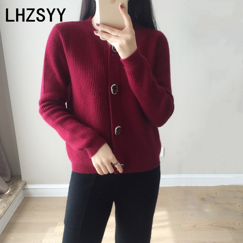 LHZSYY 2018 Spring Autumn New Women's Cashmere Cardigan O Neck Pure color High Quality Jacket Fashion knit Short Soft Sweater