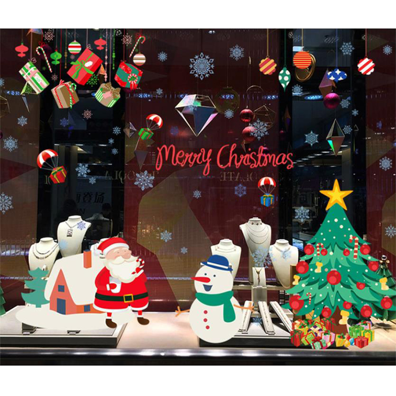 Santa Claus Christmas Tree Gift Vinly Big Wall Sticker For Kids Room Window Glass Home Decor De Parede Poster Adhesive Art Decal