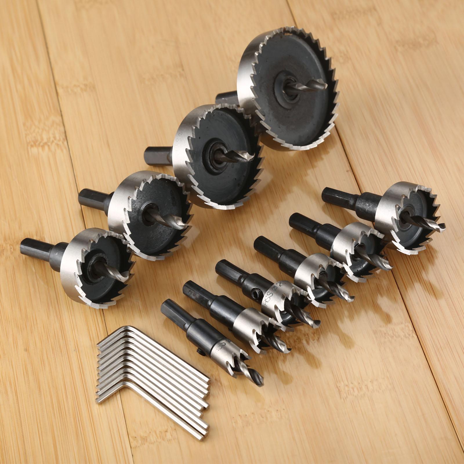 1 set outil de coupe de foret de scie à trous en acier carbone pour travail bois