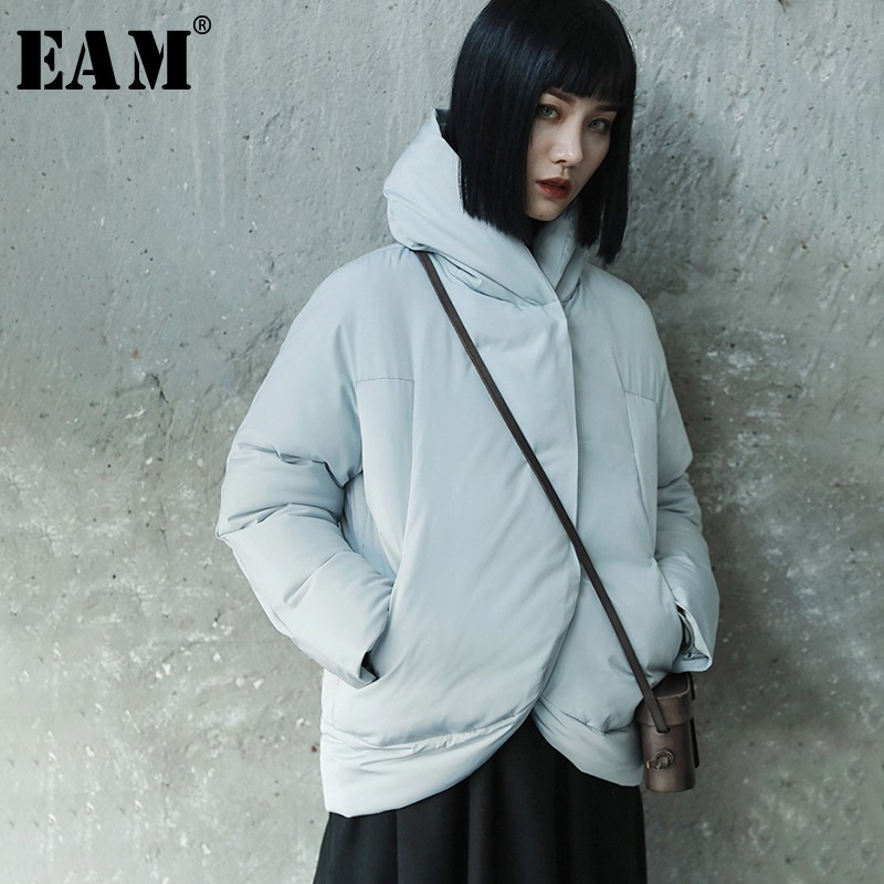 [EAM] 2019 New Spring Winter Stand Collar Long Sleeve Gray Thick Warm Irregular Cotton-padded Coat Women   Parkas   Fashion JL290