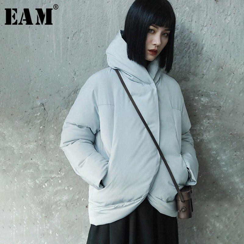 [EAM] 2019 New Spring Winter Stand Collar Long Sleeve Gray Thick Warm Irregular Cotton-padded Coat Women Parkas Fashion JL290