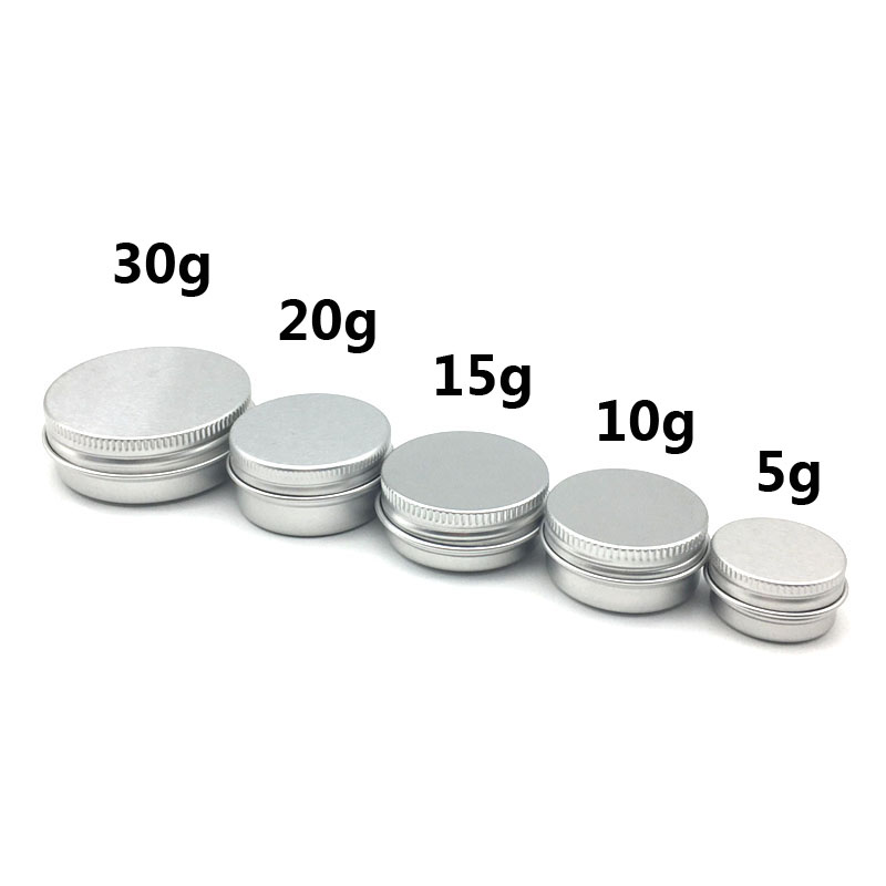 Image 2 - 5Pcs 5g/10g/15g/20g/30ml Empty Aluminum Jars Refillable Cosmetic Bottle Ointment Cream Sample Packaging Containers Screw Cap-in Refillable Bottles from Beauty & Health