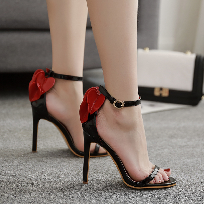POADISFOO 11.5cm thin high heels ladies sandals 2018 summer new word with peach heart sexy high heels 40 yards.ZL-808-7
