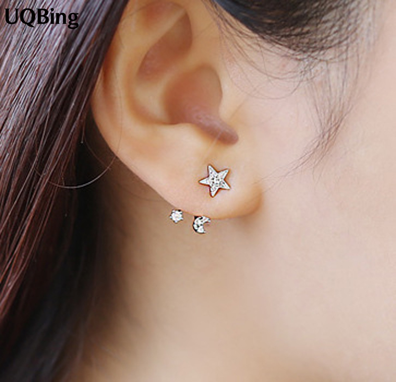 3 Colors Crystal Star Moon Stud Earrings Fashion Pure 925 Silver Stud Earrings Jewelry Pendientes Brincos Fashion Jewelry 网 红 小 姐姐