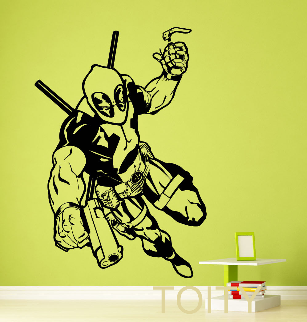 Superhero Wall Sticker DC Marvel Comics Deadpool Poster Vinyl Decal ...