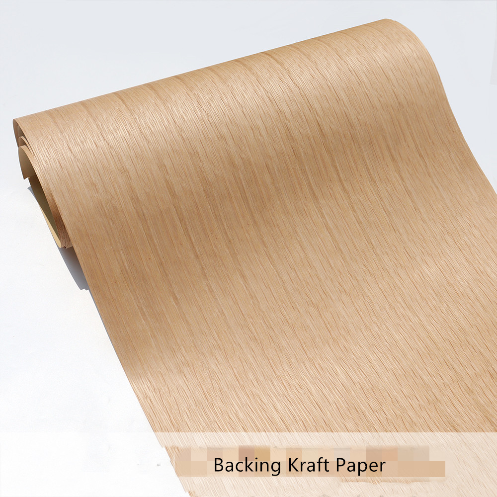 Natural Wood Veneer Sliced White Oak Furniture Veneer Straight Grain 60x250cm Kraft Paper Backing 0.25mm Q/C