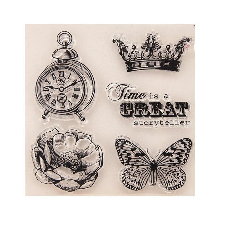 Borboleta relógio claro selo de silicone para diy álbum scrapbooking cartão decoração