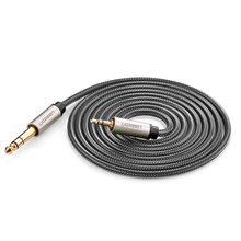 Gold Plated 3.5mm Male to 6.35mm Male TRS Stereo Audio Cable with Zinc Alloy Housing and Nylon Braid for iPod, Laptop 3m