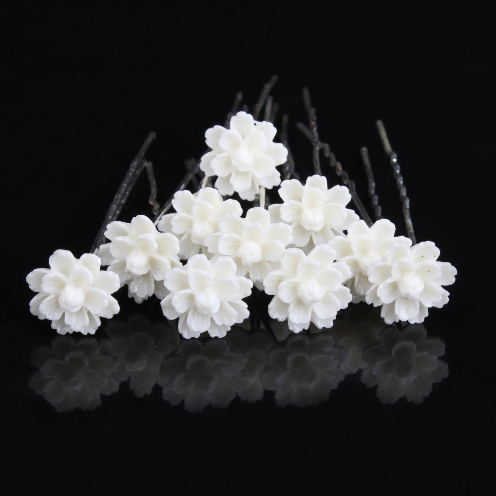 120 Pcs New Women White Flower Silver Plated Wedding Prom Party
