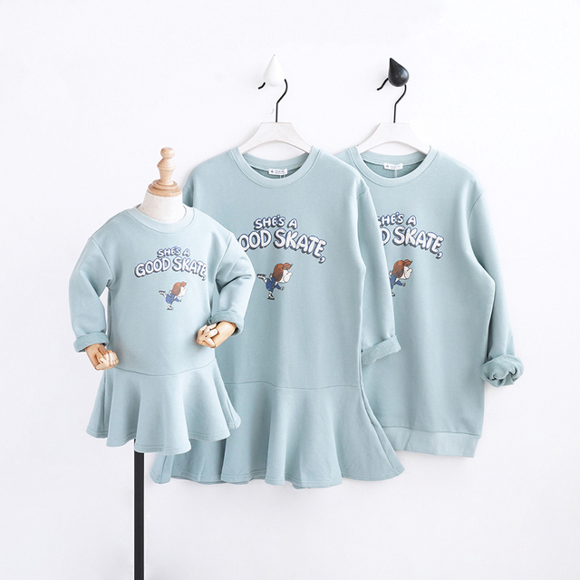 HT2015 Spring Autumn Clothing Girls Dresses Mother&Daughte Dad Family Matching Outfits child Sweatshirt T-shirt Warm Kids Dress