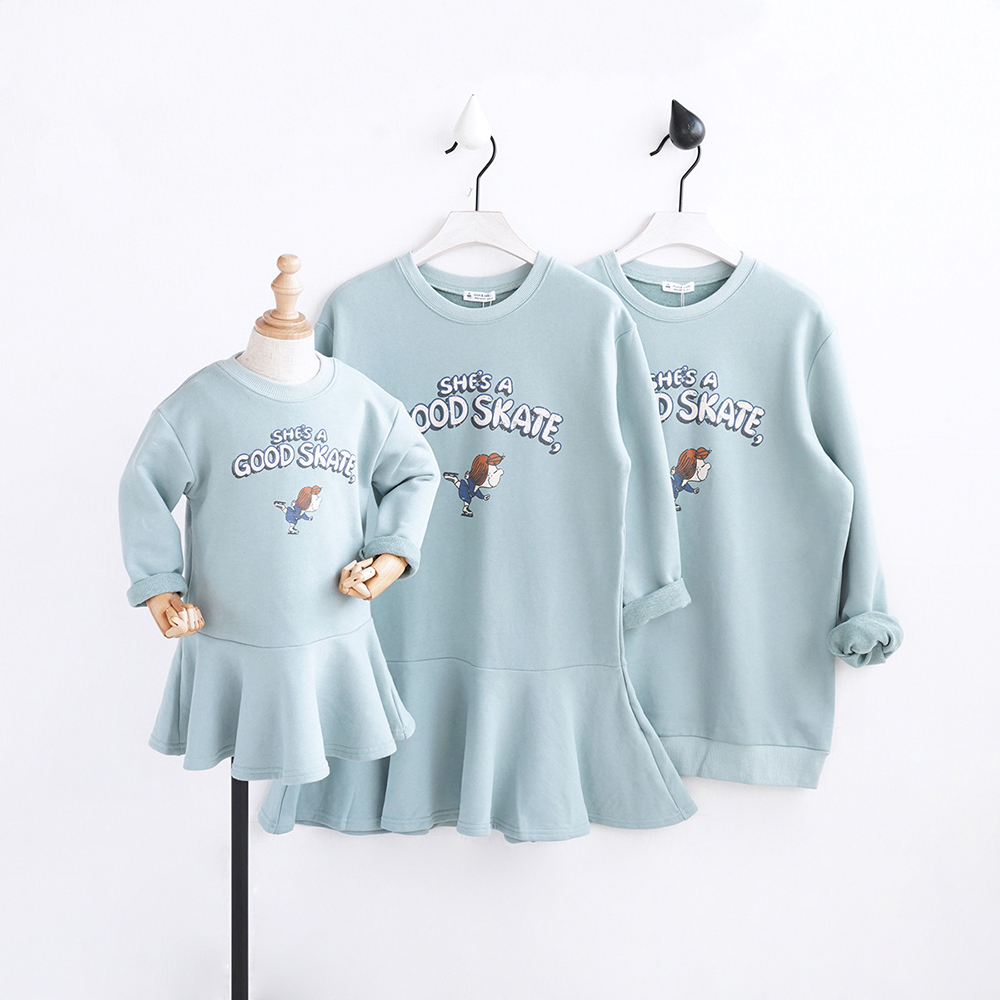 HT2015 Spring Autumn Clothing Girls Dresses Mother&Daughte Dad Family Matching Outfits child Sweatshirt T shirt Warm Kids Dress