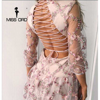 MISSORD 2018 Sexy irregular neck half sleeve backless embeoidery cross mini dress FT8133