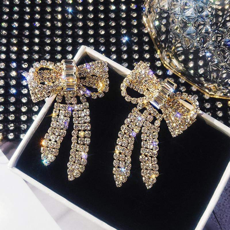 Zircon Bow Tassel Dangle Earrings Gold Silver Plated Crystal Earrings for Women Fashion Jewelry Wedding Drop Earrings Accessorie