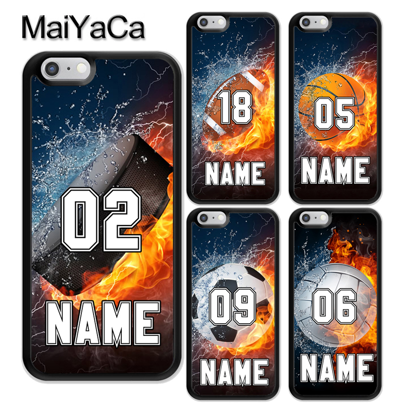MaiYaCa PERSONALIZED NUMBER NAME Hockey Basketball Soft Rubber Phone Cases For iPhone 6 6S Plus 7 8 Plus X 5 5S SE Cover Shell