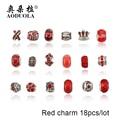 18 UNIDS Plateado Diy Murano Encantos de Los Granos Fit Pandora Pulseras Del Encanto de Europa de Cristal Rojo Accesorios de Moda para La Joyería de Diy