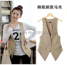 Free shipping 2014 new fashion spring autumn slim suit vest women's waistcoat blazer vest women colete feminine