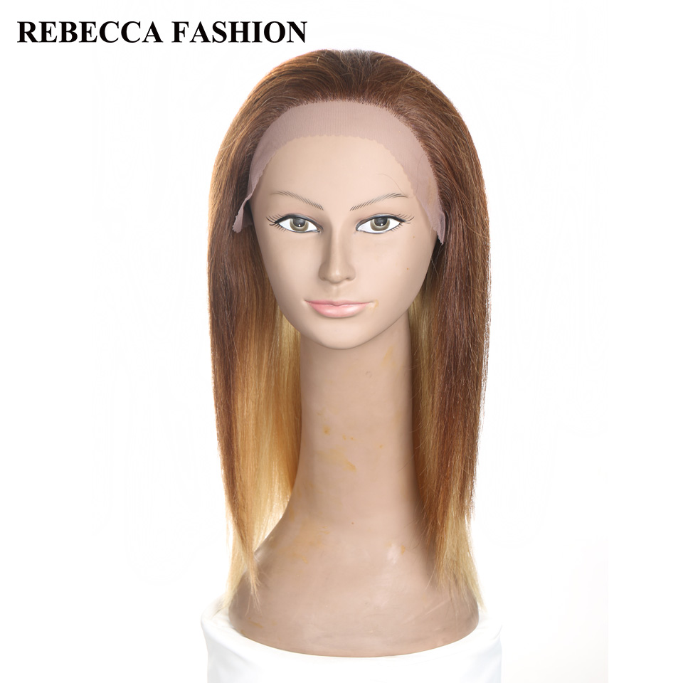 Rebecca Remy Medium Long Straight Human Hair Lace Front Wigs For Black Women African American U Part Brown Blonde ombre Wig