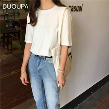 DUOUPA Womens Casual Short-sleeved Shirt Summer Fashion Solid Color  Ladies Harajuku Tumblr Blusa