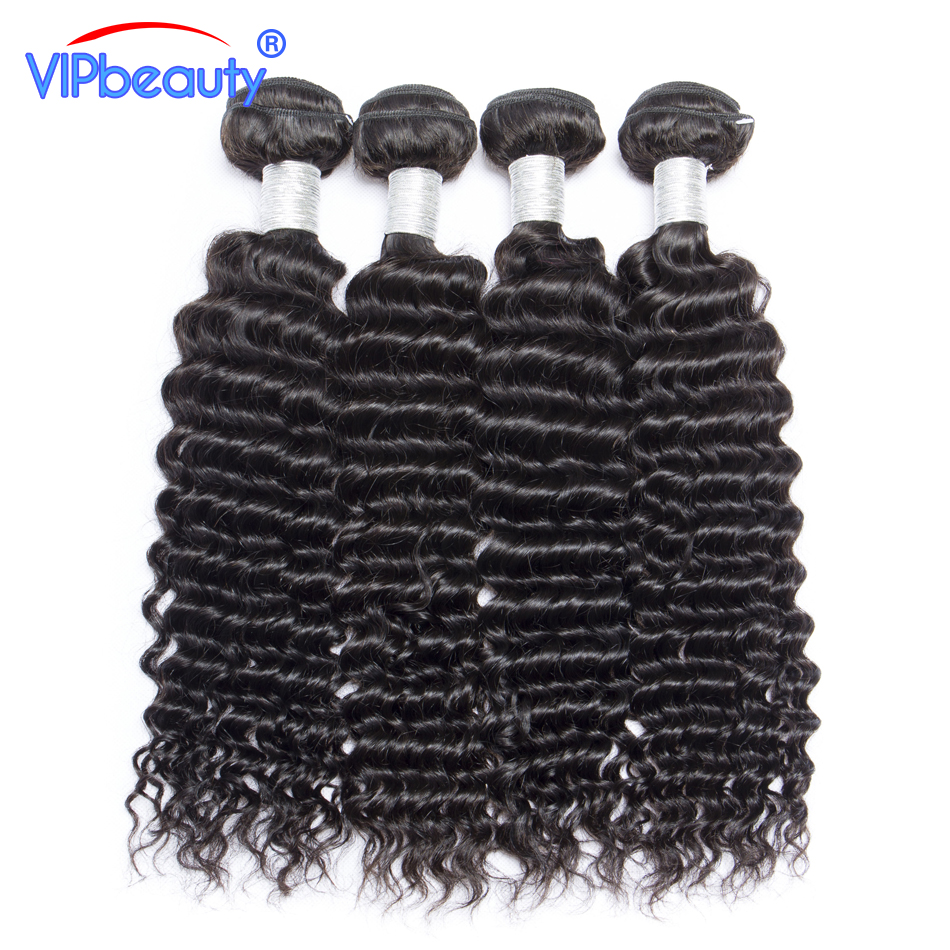 Vip Beauty Peruvian Deep Curly Hair 100% Human Hair Bundles Weave Remy Hair Extensions 4 PC/Lot 10-28 Natural Color