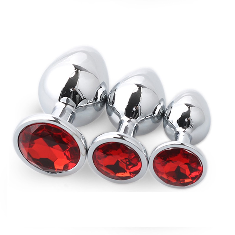 12 color for choose large middle small size 3pcs as 1 <font><b>set</b></font> steel anal plug metal butt insert <font><b>gay</b></font> <font><b>sex</b></font> <font><b>toy</b></font> for men women image
