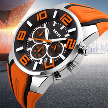New relogio masculino Date Chronograph Mens Sports Wrist Watch Waterproof Silicone Band Quartz Business Wristwatch