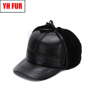 Winter Men Real Genuine Sheepskin Leather Baseball Caps High Quality Real Leather Cap Real Natural Sheep Shearing Baseball Hat