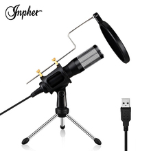 Inpher AK-3 USB plug-and-play Condenser Recording Microphone driver-free for computer conferencing voice language chat Mic r8 m06 net chat network microphone computer karaoke microphone silver 3 5mm plug 192cm cable