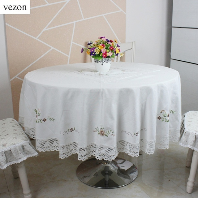 Vezon Hot Selling Round Elegant Cotton Embroidery Tablecloths Embroidered Table  Cloth With Lace Linen Towel Covers