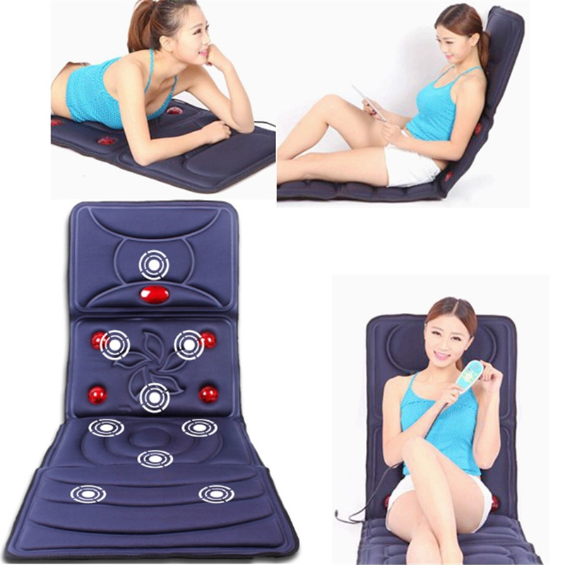 220V Collapsible Full-body Massage Mattress Multifunction Neck Back Massager Cushion Relax Relieve Sleeping Spa Health Care Tool silicone massager pat floating point hand stick full body regimen portable relieve fatigue relaxation health care tool therapy