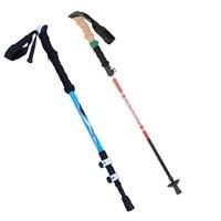 3/5 Section 3D Hard External Lock Walking Stick Adjustable 3/5 Section Aluminum Alloy Carbon Foldable Climbing Hiking Walk Stick