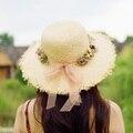 Летняя Мода Вс Шляпы для Женщин цветок цветочные Приморский Shell широкими Полями Рафии Соломенная Шляпа Причинные Шапки сложить Леди Солнце Cap