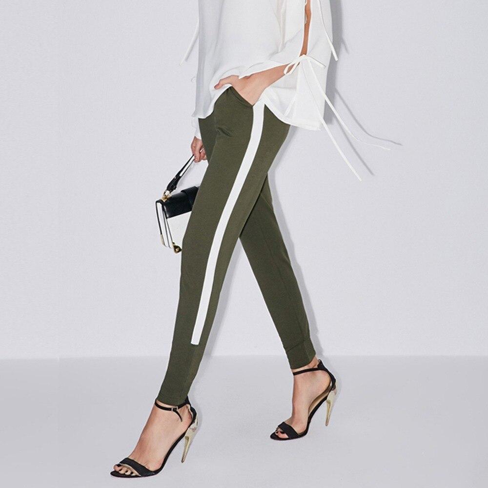 Mujer Amii Elástica Del Pantalones Militar 2019 Contraste Beige verde De Color Alta Lápiz Minimalista Cintura gqdAqvwU