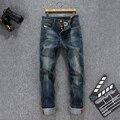 Botón delgado hombre jeans de alta calidad classic retro lavados rectos jeans para hombre de la personalidad de algodón denim jeans hombres