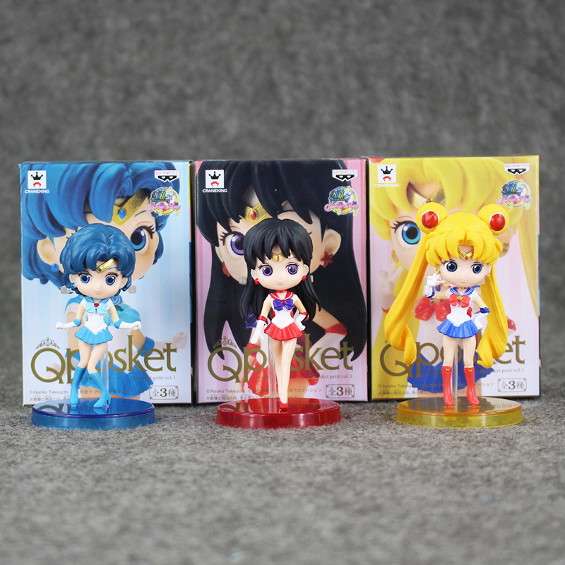 7.5-8cm 3pcs/lot Anime Sailor Moon Figure Toys Cute Mercury Hino Rei PVC Action Model Collectible Dolls Best Brithday Gifts
