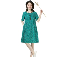 Summer Floral Dress Women 2018 Plus Size Round Neck Dress Knee Length For Women Fashion Ladies