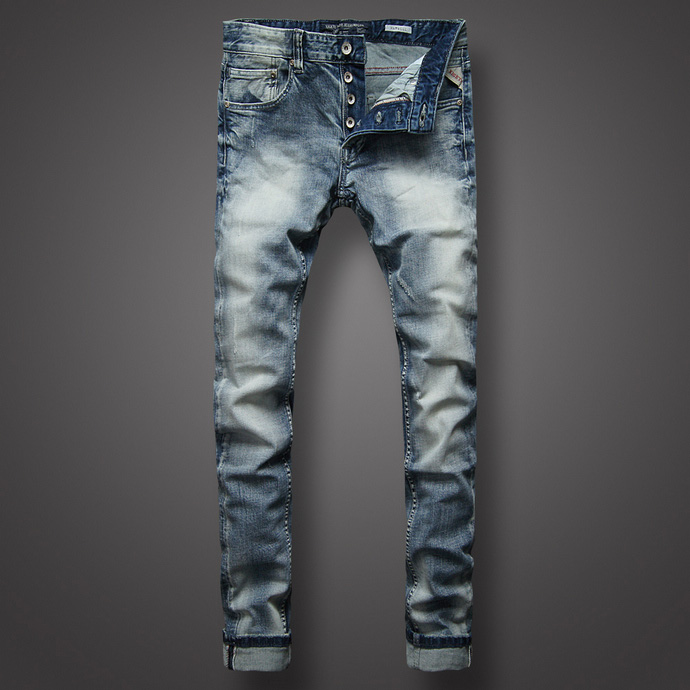 2018 New brand jeans Men Fashion Jeans High Quality Blue Color Slim Fit Buttons Pants Ripped Jeans Classical Jeans