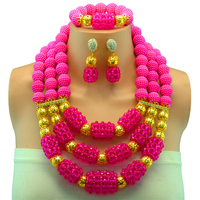 2017 Fashion Trendy Rose Costume Jewelry Set Nigerian Wedding African Beads Set Crystal Braid Pendant Necklace