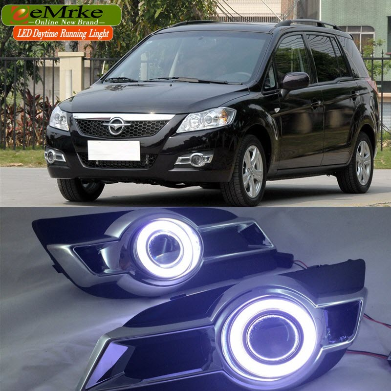 EEMRKE автомобильный Стайлинг для Haima Freema 2009-2011 COB LED Angel Eye DRL H11 55 Вт галогенные Противотуманные фары лампа дневного света