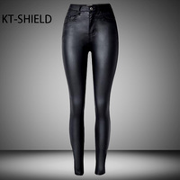 Women Black Coated Jeans High Waist Skinny PU Leather Female Biker Motorcycle Casual Trousers Elastic Denim
