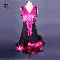 Can Be Customized Latin Dance Dress salsa tango Cha cha Ballroom Competition Sequined Dress Salsa Dance Dresses
