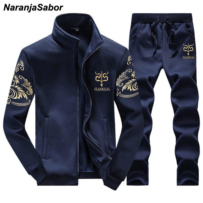 NaranjaSabor 2018 Printemps Automne Hommes de Vêtements Ensemble Occasionnel Sweats Pantalons Survêtements Hommes Marque Vêtements Hommes Sport 4XL