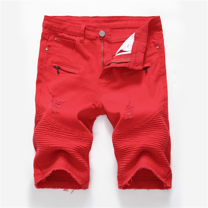 Solid Elastic Mens Ripped Short Jeans Hollow Out Bermuda Summer Red Distressed Hole Shorts Cowboys Knee Length Denim Shorts Male