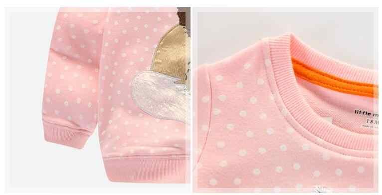 Little Maven/детская брендовая детская одежда для девочек 2017 Новинка осени для девочек длинные рукава Терри Трикотажные горошек лиса розовая футболка C0032